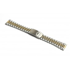 Cinturino orologio jubilee acciaio bicolor ansa dritta 20mm deployante jm308 compatibile rolex