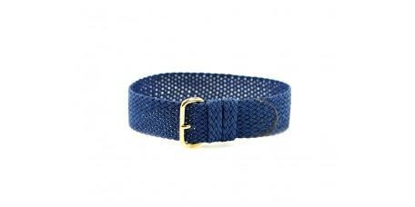Cinturino per orologio perlon tessuto cordura nylon blu oro 18mm kanvas telato watch strap