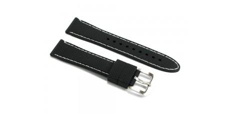 Cinturino per orologio in silicone nero e cuciture bianche 20mm gomma caucciù