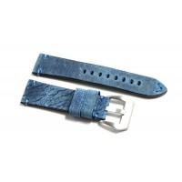 Cinturino orologio pelle kudu antichizzato blu ecru fatto a mano 22mm vintage
