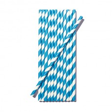 12 cannucce party strisce bianche e celesti in carta monouso cannuccia