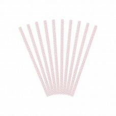 12 cannucce party  con motivo chevron rosa chiaro in carta monouso cannuccia