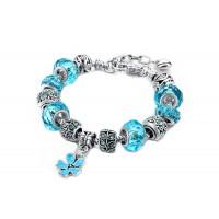 Bracciale Acciaio Inox anallergico Zirconi Charm e Pendente a Fiore Blu Donna