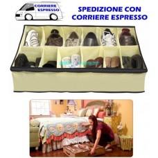 Scarpiera per 12 paia di scarpe in tessuto sottile portatile shoe organizer