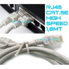 Cavo 1,8mt lan rete ethernet rj45 1,8 metri categoria 5e hub router peer to peer