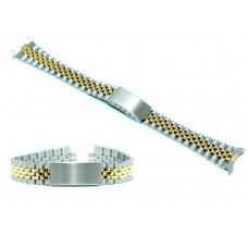 Cinturino orologio jubilee acciaio bicolor ansa curva 13mm deployante tipo rolex