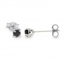 Orecchini argento puro 925 zircone nero 4mm tondo brillante unisex punto luce