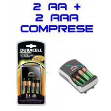 Caricabatterie duracell rapido 15 minuti 2 pile aa + 2 aaa 1700mah ricarica led