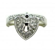 Anello acciaio e swarovski cuore pendente Donna misura 14  AN102SW