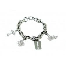 Bracciale Acciaio Inox anallergico charms pendenti e swarovski Donna br75