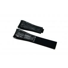 Cinturino ibrido pelle silicone nero compatibile orologio Rolex - Omega 20mm curva caucciu' gomma watch strap