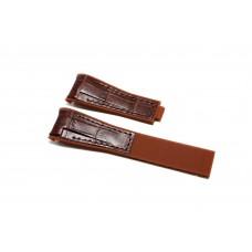 Cinturino ibrido pelle silicone marrone compatibile orologio Rolex - Omega 20mm curva caucciu' gomma watch strap