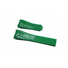 Cinturino ibrido pelle silicone verde compatibile orologio Rolex - Omega 20mm curva caucciu' gomma watch strap