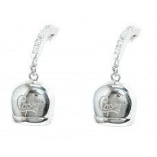 Orecchini Capri grande argento puro 925 zirconi bianchi brillanti