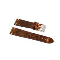 Cinturino orologio vero cuoio antichizzato ruggine ecru fatto a mano 22mm pelle