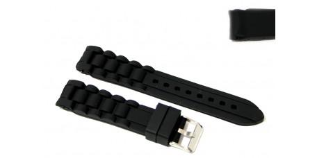 Cinturino in silicone nero per orologio ansa 20mm tipo nautica 3 gomma caucciù