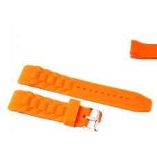 Cinturino in silicone arancione per orologio ansa curva 22mm compatibile nautica 3 gomma caucciù