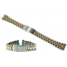 Cinturino orologio president acciaio inox bicolor ansa curva 17mm tipo rolex watch strap