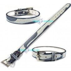 Collare collarino blu brillantinato pet per cani medio- piccola taglia 42cm