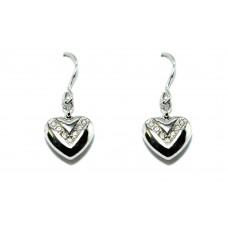 Orecchini Acciaio Inox anallergico con cuore pendente e  swarovski Donna OR206SW