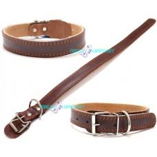 Collare cuoio per cani taglia medio-grande marrone in pelle pet cane