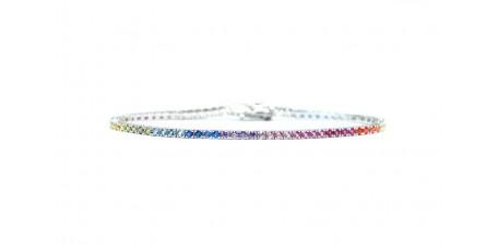 Bracciale tennis 18cm argento puro 925 zirconi arcobaleno brillanti 2mm unisex