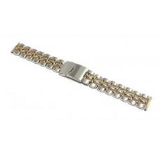 Cinturino in acciaio pesante bicolor compatibile con orologio sector 18mm Lungo XL watch starp
