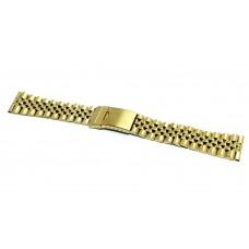 Cinturino orologio jubilee acciaio inox color oro ansa dritta 20mm deployante jm318 compatibile rolex