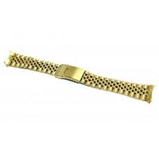 Cinturino orologio jubilee acciaio inox color oro ansa curva 20mm deployante jm319 compatibile rolex